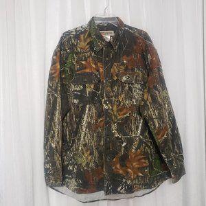 Russell Outdoors Camo Button Shirt Long Sleeve Mossy Oak Shirt Size 2XL